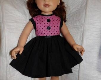 Cute 60's inspired pink & black polka dot sleeveless dress for 18 inch dolls - ag306