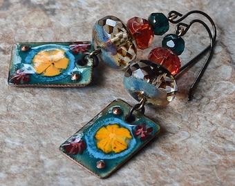 Tribal Earrings Boho Enameled Copper Charms Yellow Flowers Antique Brass Earrings