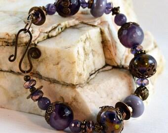 Purple Bohemian Amethyst Jade  Bracelet