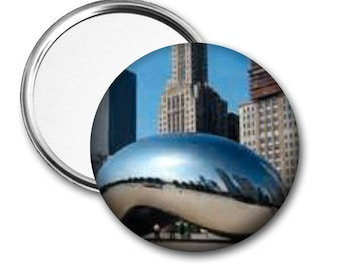 Cloud Gate..Millennium Park..Chicago..Pocket Mirror.Magnet.Pinback..Unique Gift..Accessory..Birthday Gift..Fundraiser