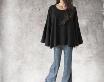 Black top women/Suiting shirt/Trapeze blouse woven/Slip over top/Bell sleeve