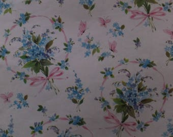 Vintage Blue Nosegays Pink Ribbons Bows All Occasion Gift Wrap Wrapping Paper