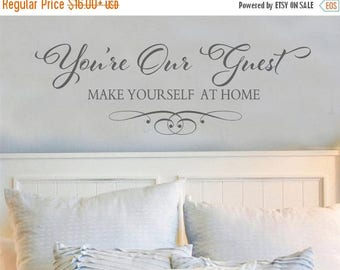 20% OFF You're Our Guest -Bedroom family-Vinyl Lettering wall words decal graphics Home decals decor itswritteninvinyl