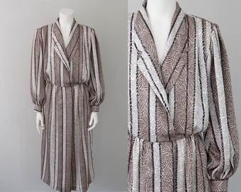 80s Vintage Jerry Silverman Designer Print Midi Dress (M - L)