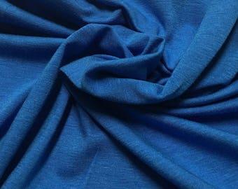 Bamboo Cotton Lycra Jersey Knit Fabric Eco-Friendly 4ways spandex - Marina Blue
