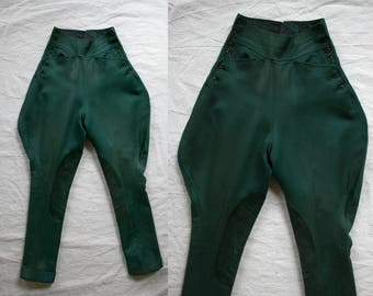1940s Forest Green Equestrian Riding Pants/ 40s High Waisted Jodhpurs / Suede Knee Patches / Women's