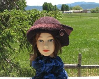 Lave Red Mauve Knit Felted Felt Hat Wool Split Brim Button Accent