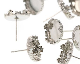 12mm Stainless Steel Tone Brass Ornate LACY Crown Earring Tray Settings, Earring Backs INCLUDED