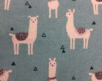 Llamas Teal - FLANNEL - 15 inches