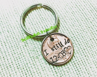 Penny Key Chain - Anniversary Key Chain - Stamped Penny - Personalized