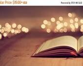 Still Life Photography: Open Book Fine Art Photography art print Bibliophile Bokeh Reader Book Print, Book Art work, Library photography
