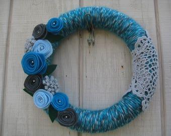 Yarn Wreath//Teal Yarn Wreath//Spring Wreath