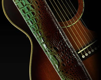 Leather Guitar Strap, Padded Guitar Strap, Custom Guitar Strap: Crucibus-Brown Dragon Guitar Strap