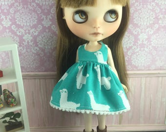 Blythe Dress - Teal Alpacas