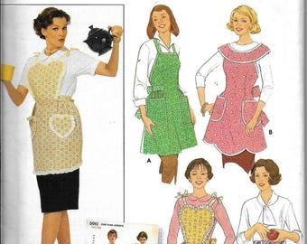 Simplicity 5961 Retro Vintage 1950s Rockabilly Apron Full Bib Farm Hostess Sewing Pattern UNCUT