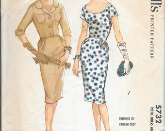 Vintage 1960s McCall's 5732 Slim Wiggle Dress And Jacket Sewing Pattern Size 16 Bust 36
