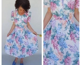 80s Dress / Floral Dress / Sheer Dress