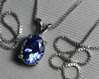 Tanzanite Necklace, Certified 2.13 Carat Genuine Tanzanite Pendant, Oval Cut, Sterling Silver, Real Genuine Natural Blue Tanzanite