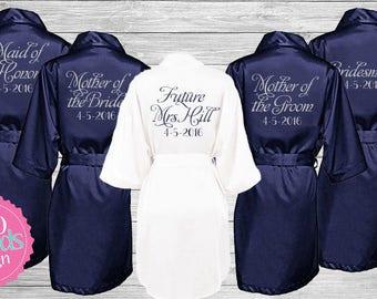 Set of 6 Bridesmaid Robes, Bridesmaid Gift Satin Bridesmaid Robes, Glitter Satin Robes, Monogrammed Robes Personalized Robe, Bride