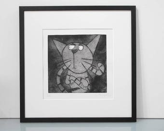 No Way Jose - original limited edition stripey cat print black and white cat print cat art funny cat etching humourous cat etching unframed