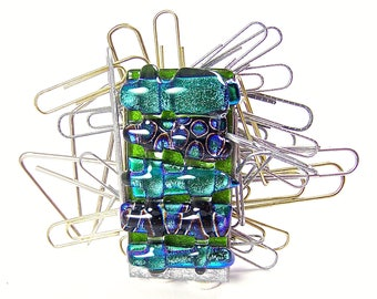 """Dichroic Glass Magnetic Paper Weight / Paper Clip Magnet - Office Desk Organizer - Green Emerald Jade Polka Dotted Weave Fused Glass - 2"""""""
