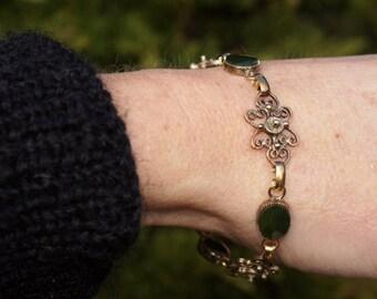 Spinach Green Jade Filigree Vermeil Bracelet
