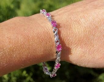 Sterling Silver Pink Tourmaline Link Bracelet