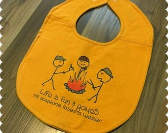 Funny Saying Recycled T-Shirt Baby Bib, Life is Fun and Games, Camping, Camp Fire, Baby Boy Gift, Baby Shower