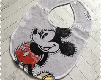 Mickey Mouse Baby Bib, Disney Recycled T-Shirt Bib, Disney Baby Shower, Disney Baby