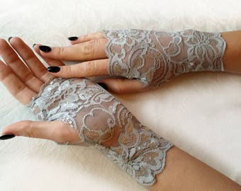 Stretch Lace Gloves in Light Gray , stretch lace, fingerless lace gloves, Bride, bridesmaid, gift for her.  Ready to ship.