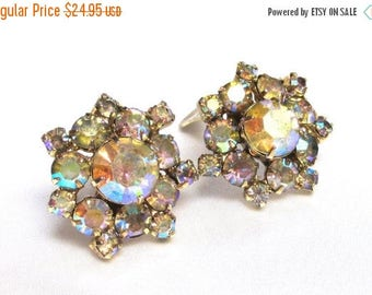 25% Off Vintage Champagne Aurora Borealis Rhinestone Earrings, Clip on