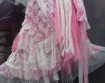 20%OFF wedding, bridal,tattered skirt, boho, fantasy, stevie nicks, bohemian skirt, gypsy skirt,pink ,,white, lace skirt, bellydance, s, m