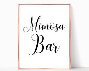 SALE -50% Mimosa Bar Wedding Sign Bridal Baby Shower Birthday Party Digital Print Instant Art INSTANT DOWNLOAD Printable Wall Decor