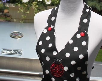 SALE Black & White Polka Dot Full Apron