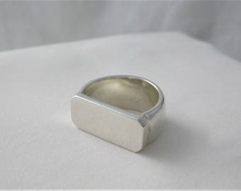 Chunky Sterling Silver Abstract Ring - Size N - Handmade By CMcB Jewellery