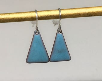 Robin's egg blue triangle enamel earrings hand made simple colorful  geometric earrings