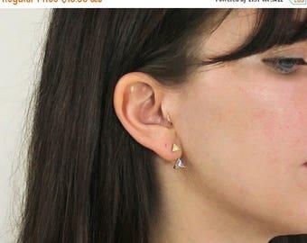 20% off. Jacket Earrings. Double Triangle Earrings. Geometric Earrings. Minimal Earrings. Cz Jacket earrings.