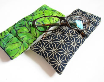 Glasses Case, Batik, Green, Pantone Colour of The Year, Greenery, Eyeglasses case, Spectacles Case, Sunglasses Pouch by Olganna, UK Seller