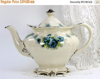 ON SALE Vintage Sadler Teapot, Porcelain Tea Pot, Milky White, Blue Florals, Sadler Tea  12563