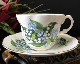 Rosina Teacup and Saucer, Lily of the Valley Tea Cup  - Made in England  -K