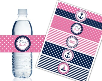 Nautical Water Bottle Labels, Printable Water Bottle Labels, Nautical Theme Party Decor, It's a Girl Baby Shower, Instant Download - DP450