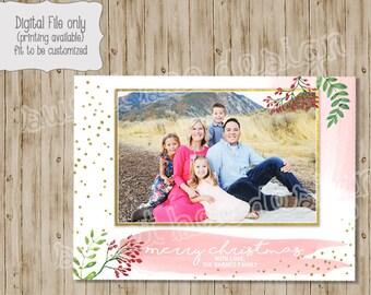 Christmas Photo Card, Holiday Photo Card, Holiday Card, Christmas Card, Glitter Christmas Card, Christmas Photo, Holiday Photo, Floral