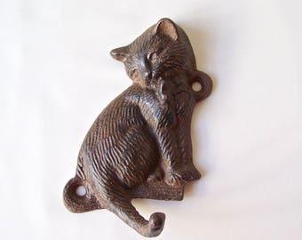 Vintage Kitten Coat Hook Cat Leash Hook Victorian Style Cast Iron 1980s