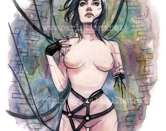 Anime Ghost in the Shell inspired Pin Up watercolor art print Carla Wyzgala Carlations