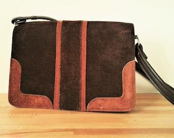Vintage Suede Handbag 70s brown orange maroon