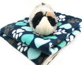 Blue paws fleece cage liner