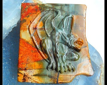 New Design Pendant, Carved Multi Color Picasso Jasper Gemstone Art griffin Pendant,63x56x10mm,61.2g(f0657)