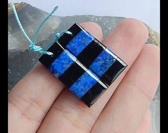 Lapis Lazuli,Obsidian Intarsia Gemstone Earring Bead,25x10x4mm,5.10g