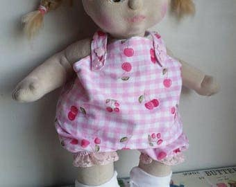 My Child Cabbage Patch Kid Baby Born cloth reversible Cherry Berry pinafore jumper dress bloomer set baby doll clothes handmade home play