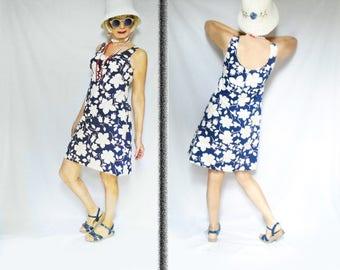 Summer A Line Dress is a Hi Waist Dress, Short Cotton Dress, Mod Sundress, Low Back, Built in Bra, Above Knee Tank Style Summer Dress 2017